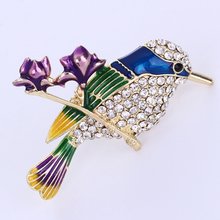 ФОТО cute sparrow brooches for women colorful enamel crystal birds brooch pins scarf dress collar clips decoration accessories