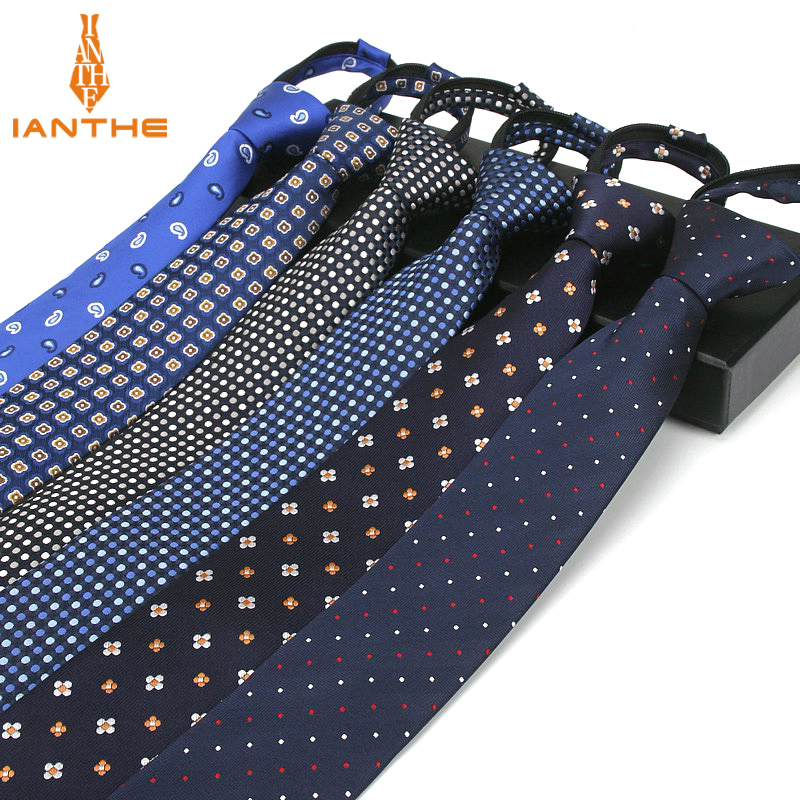 6cm Men's Business Suits Zipper Tie Fashion Business Wedding Party Casual Skinny Neckties Slim Strip Dot Paisley Neck Ties