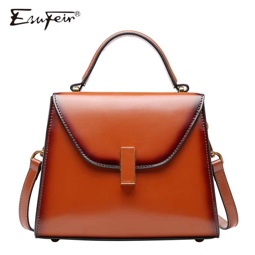 ESUFEIR Brand Genuine Leather Handbag for Women Retro Shoulder Bags Top-handle Small Flap Bag Crossbody Bag for Women Luxury Bag 2017 fashion all match retro split leather women bag top grade small shoulder bags multilayer mini chain women messenger bags