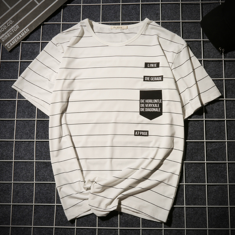 Summer T-shirt Men's Short-sleeved Fashionable Half-sleeved Round-collar Slim Men's Stripe Half-sleeved Clothes MW51 3