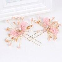2017 NEW Pretty Pink Ivory Dried Flower Hair Pins Bridal Headband Handmade Wedding Accessories Hair Jewelry