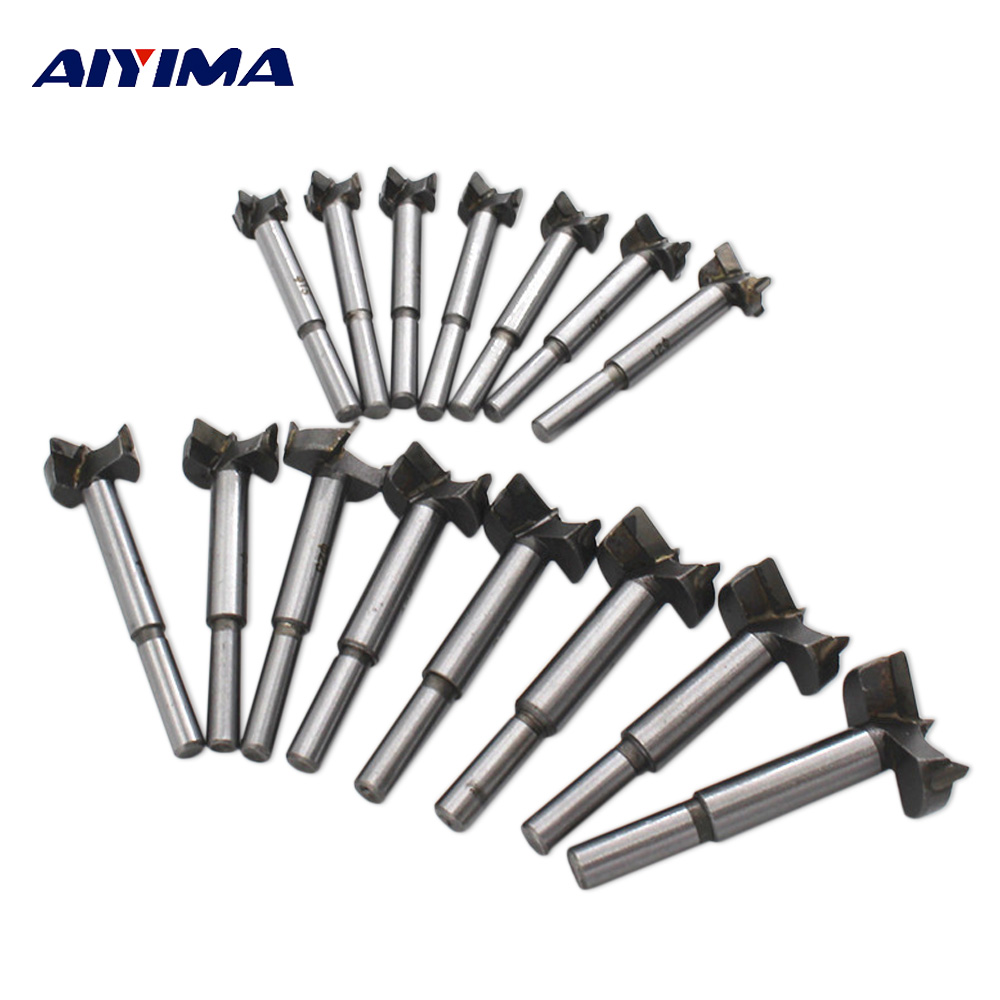 Aiyima 15Pcs/Set Drill Woodworking Milling Cutter Carpentry Alloy Hole Opener 15-35MM Wooden Forstner Bit Handle Drilling Tools tungsten alloy steel woodworking router bit buddha beads ball knife beads tools fresas para cnc freze ucu wooden beads drill