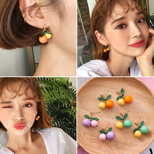 XIALUOKE Sweet cherry fruit stud earrings contracted brief paragraph orange earrings fashion woman font b gold