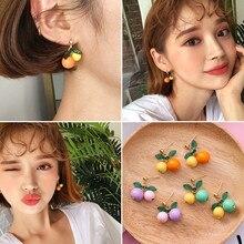 XIALUOKE Sweet cherry fruit stud earrings contracted brief paragraph orange earrings fashion woman gold earrings