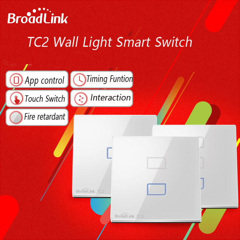 Broadlink TC2 UK Standard 1 2 3 Gang Glass Panel Touch Switch Smart Home Automation WiFi Remote Control Wall Light 220V 433mhz