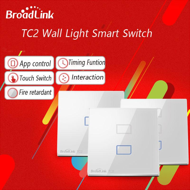 EU Standard Broadlink TC2 Smart Touch Switch 1 Gang + 2 3 Wireless Remote Control, Glass Panel Screen