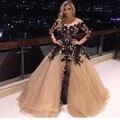 2016 Новый Высокое Качество Горячей Знаменитости Платья Арабский Дизайн Саудовской Аравии С Длинным Рукавом Черный Аппликация Вечернее Платье Красное Вечернее Платье