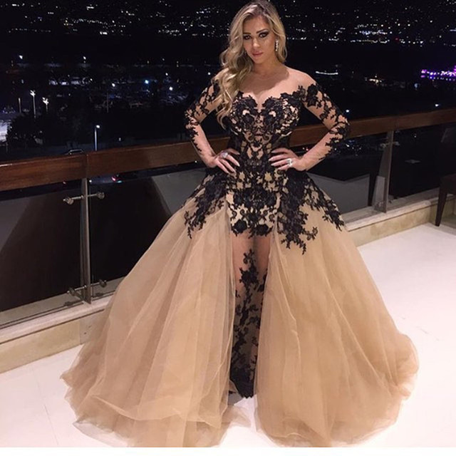 2016 New High Quality Hot Celebrity Dress Arabic Design Saudi Arabia Long  Sleeve Black Applique Party Dress Red Evening Dress 3a6ae8238596