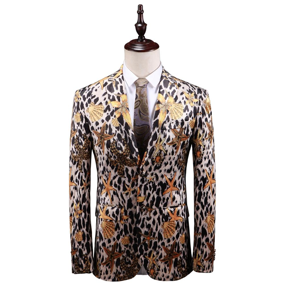 2019 MenS Fashion Trend Print Blazer High Quality Business Casual Slim Floral Dress Jacket