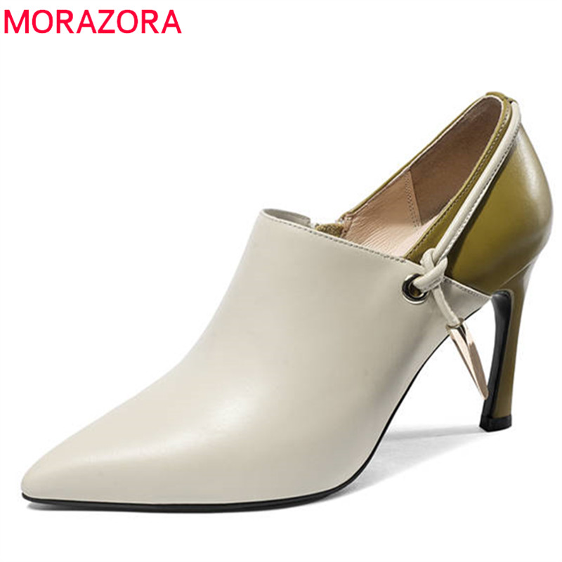 MORAZORA 2018 hot sale women pumps spring summer genuine leather shoes mixed colors fashion shoes sexy thin high heels shoes morazora 2018 hot sale women pumps pointed toe summer shoes genuine leather shoes buckle party shoes fashion high heels shoes