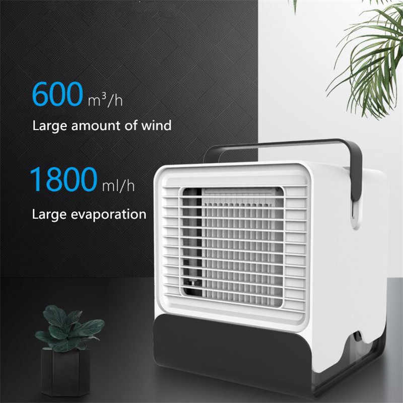 USB Mini Portable Air Conditioner Conditioning Humidifier Purifier Light Desktop Air Cooling Fan Air Cooler Fan for Office Home