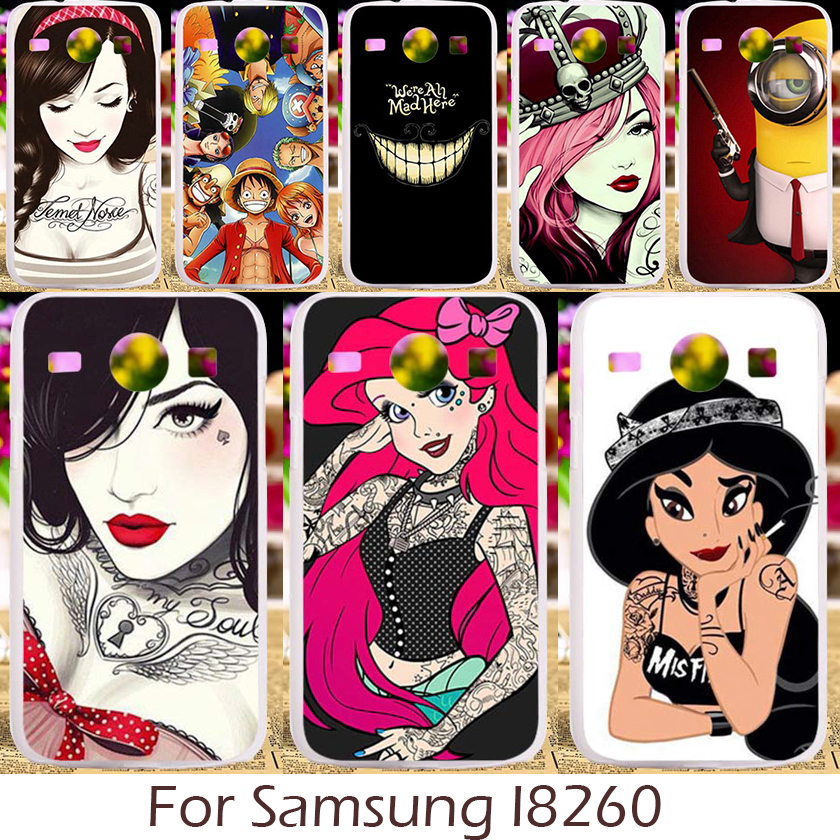 Akabeila Hard Plastic Silicon Case For Samsung Galaxy Core I8260 I8262 GT-I8262 8260 GT i8262 Cover Cartoon Characters Pattern