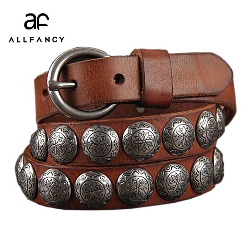 Women 100 Head layer cowhide personality Waist belt studded Jeans Belt color rivet Original leather belt