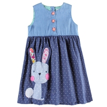Girls baby sleeveless dress summer new children wearing embroidered rabbit figure round neck H7140