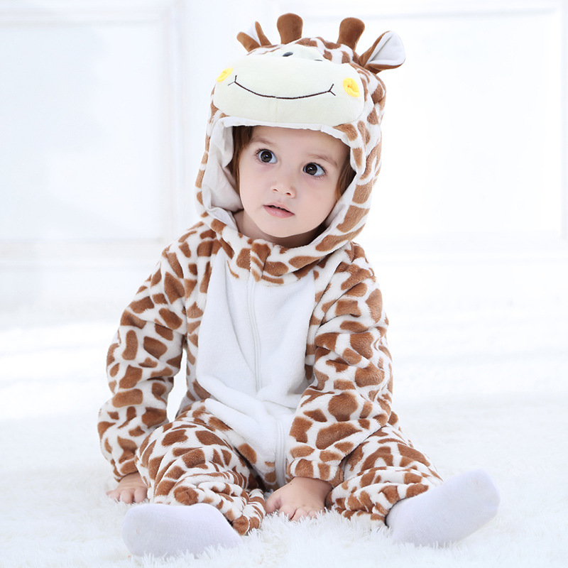 SAILEROAD Cartoon Giraffe Kigurumi Baby Kids Cartoon Animal Cosplay Costume Warm Soft Flannel Fancy Onesie Cute Pajama Body Suit