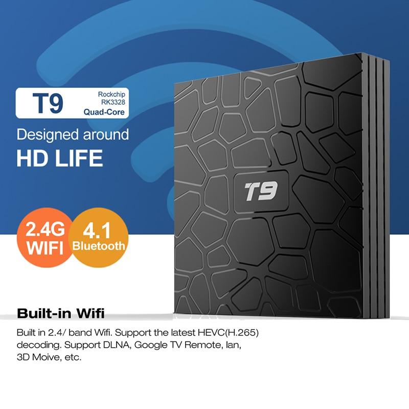 T9 Smart TV Box Android 8.1 4GB Ram 32GB Rom Rockchip RK3328 Bluetooth 4.1 Wifi 1080P H.265 4K VP9-10 Google Player Set Top Box цена