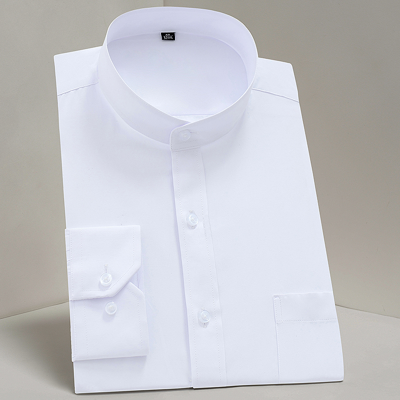 Formal-Shirts Regular-Fit Collar Chest-Pocket Long-Sleeve Plain Party-Bussiness Solid