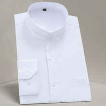 Chinease Stand Kraag Solid Plain Regular Fit Lange Mouwen Party Mandarijn Bussiness Formele Shirts Voor Mannen Met Borstzak
