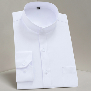 Image 1 - Chinease stehkragen solide plain regular fit langarm party Mandarin bussiness formale shirts für männer mit brust tasche