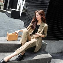 Set female 2018 autumn temperament solid color small suit jacket + casual pants fashion two-piece elegant women's clothing