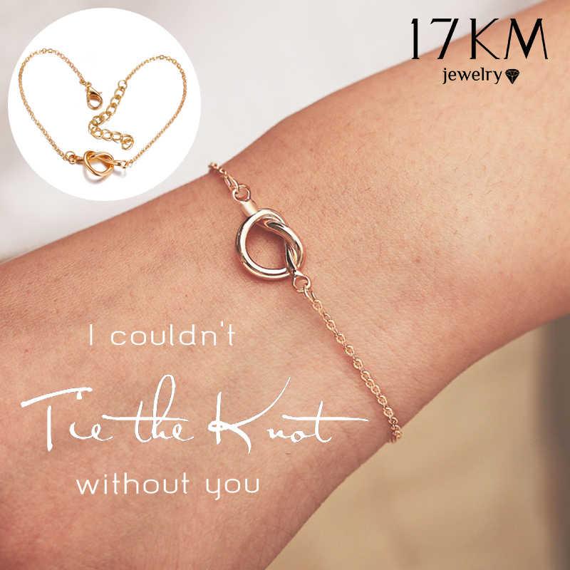 17KM 2019 pulsera de nudo de corbata para Mujer a la moda ajustable Twist Pulseras de oro Pulseras Mujer dama de honor regalos de joyería