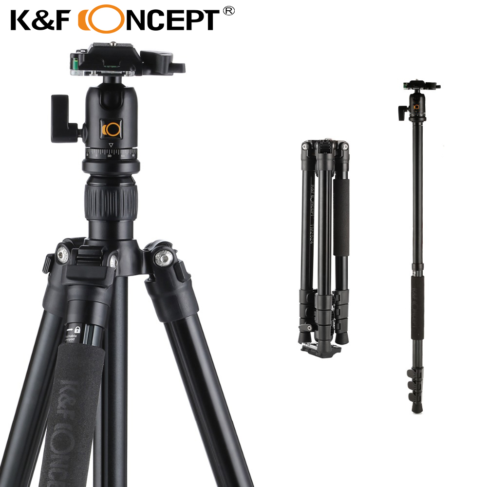 все цены на K&F CONCEPT TM2524 Professional Portable Travel Aluminum Camera Tripod New Design Monopod for DSLR Canon Nikon Sony Fuji Camera онлайн