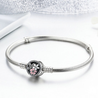 Authentic 925 Sterling Silver Poetic Daisy Cherry Blossom Mixed Enamels Clear CZ Snake Chain Bracelet Jewelry