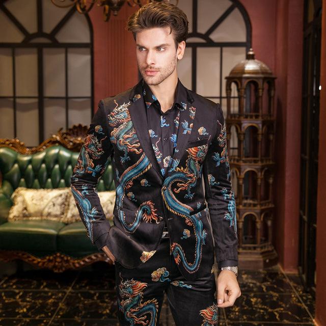 Tamanho 48-56 Outono Inverno Impressão Dragão Luxo Ternos 3 Peças Conjunto Blazer De Veludo Ouro Calças Camisa Slim Fit Traje do partido
