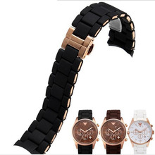AOTU Watchband AR Accessories Watch Band for Armani AR5920 AR5890 AR5905 AR5919 Stainless Steel Rubber Watch Strap Man+Free Tool