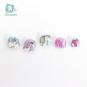 Image 4 - Pegatinas Nail Art de unicornio para niños, decoración de uñas 3D, pegatinas de Punta autoadhesivas, pegatinas de uñas de dibujos animados para niños, novedad de 2018