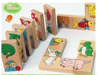 Free Shipping Animal Domino Puzzles High Quality Educational Toys Wooden Toy Baby Gift Christmas Gift Wholesale