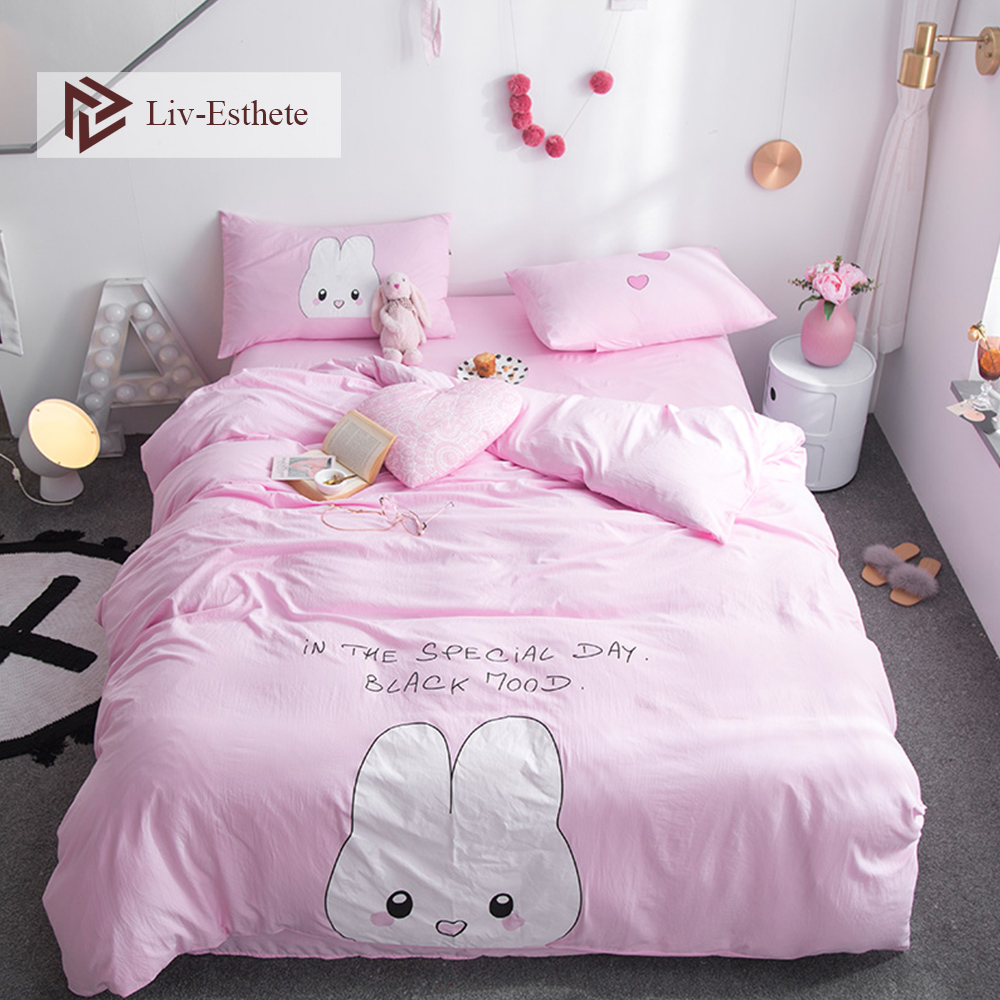 Liv-Esthete Fashion Cute Rabbit Cartoon Bedding Set Pink Duvet Cover Flat Sheet Pillowcase Double Queen King Bed Linen Hot Sale