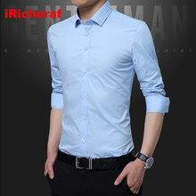 iRicheraf 2019 Business Men Shirt Long Sleeve Formal Mens Dress Shirts Solid White Black Blue Pink Non-ironing M-5XL