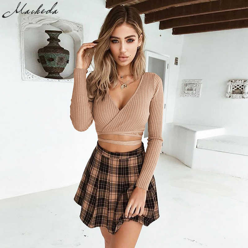 Macheda Women Sexy Deep V Neck Tops Cross Long Sleeve knitting Lady Crop Tops Off The Shoulder T -Shirt Women clothing