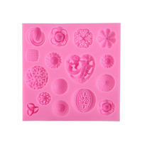 3D Cute Buttons Flower Silicone Fondant Chocolate Mold Candy Maker Ice Tray Mold Embossed Cake Mould Sugar Craft Baking Tools