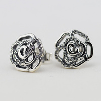 Compatible with European Jewelry Rose Silver Stud Earrings with Cubic Zirconia 925 Sterling Silver Earings for Women DIY Making