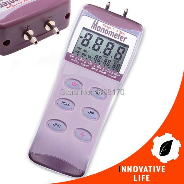 Digital Gauge & Differential Air Pressure Manometer psi kPa mmHg mbar inHg Kg/cm2 Meter HVAC Industry Medical Equipment Use  цены