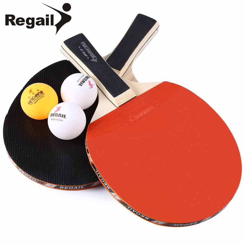 REGAIL A508 1 Pair Table Tennis Racket Hot Sale 2 Colors Two Long Handle Durable Ping Pong Racket With Three Ping Pong Balls