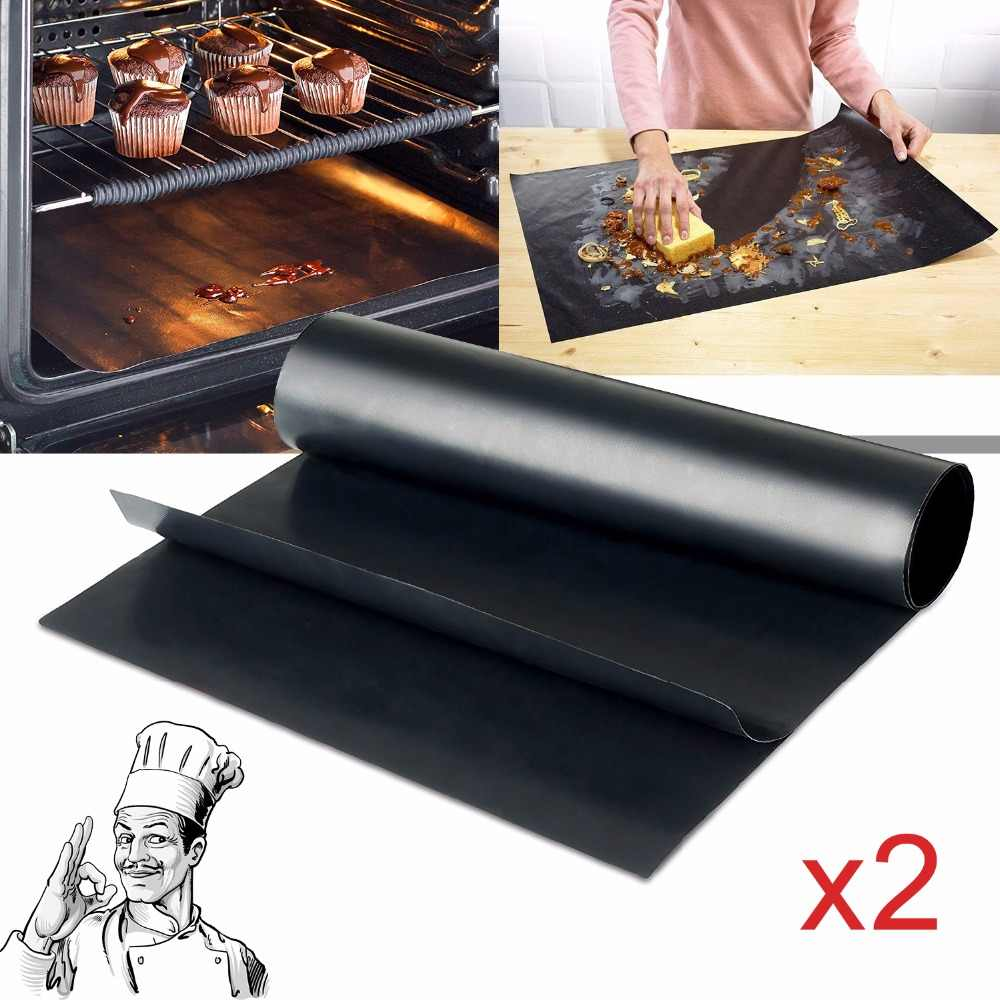 40x33/50cm 2pcs/set Reusable Non-stick BBQ Grill Mat 0.2mm Thick PTFE Barbecue Baking Liners Teflon Cook Pad Microwave Oven Tool