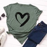 Plus Size S 5XL New Heart Print T Shirt Women 100% Cotton O Neck Short Sleeve Summer T Shirt Tops Casual Tshirt women shirts