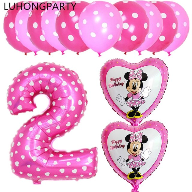 New 13pcs mickey minnie mouse number 2 foil balloons lot helium latex globos baby shower birthday party decor supplies kids toys