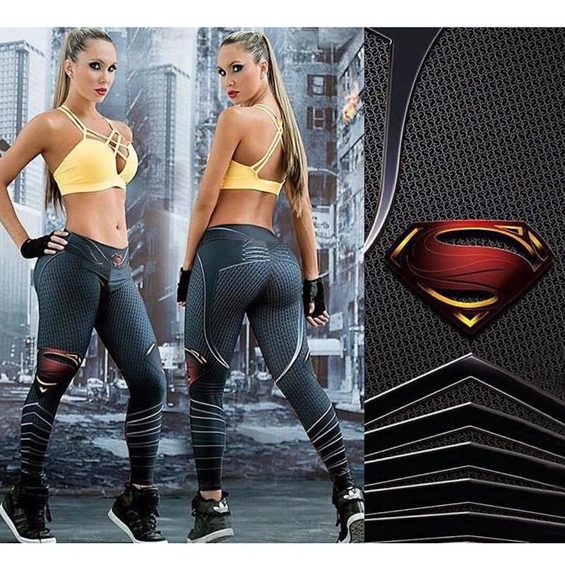 8dd93d0109 Superman Printed Sport Leggings Running Women Yoga Pants Stretched ...