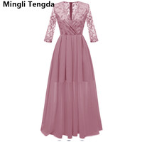 Simple Chiffon Mother of the Bride Dresses Sexy Lace Women Party Dress 3/4 Sleeve Mother of the Bride Mother Dress Mingli Tengda