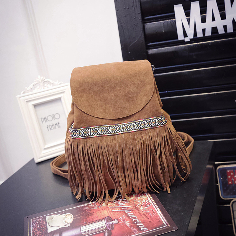 2017 New Fashion Vintage Women Bag Famous Brand Pu Leather Frosted Tassel Backpack Shoulder Bag Female Casual Backpacks