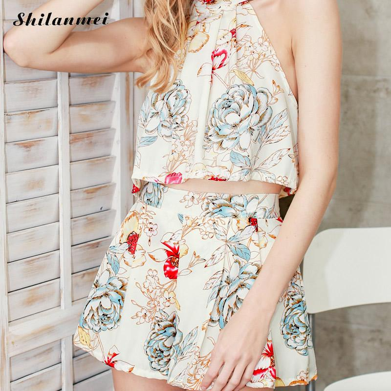 Womens Sets Floral Printed Sleeveless Tank Tops and Shorts Sweat Suits Women Summer Tracksuits Runway Outfit Two Piece Sets xl