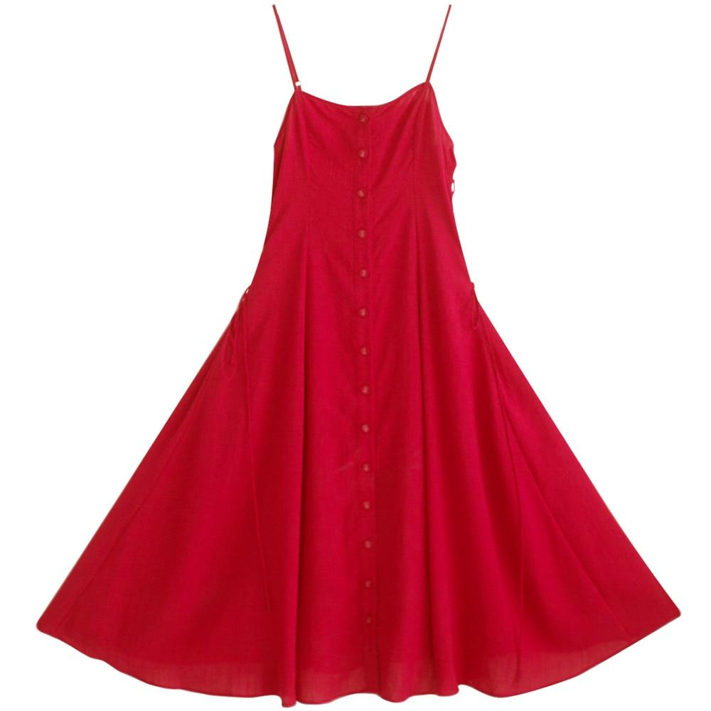 Verano Larga Encaje Línea Hasta Spaghetti Original Una Vintage Rojo Sin Vestido Diseño Camisa Mangas 2017 Correas Mm182 Midi gBE1Z
