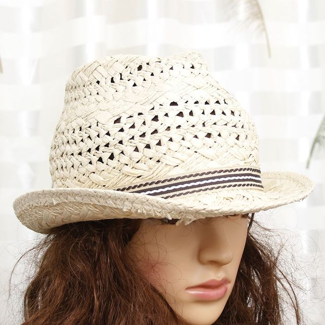 Modern Handwork Women Summer Straw Sun Hat Boho Beach Fedora Hat Sunhat  Trilby Men Panama Hat Gangster Cap Good Pack Cap 2f04c9f492e