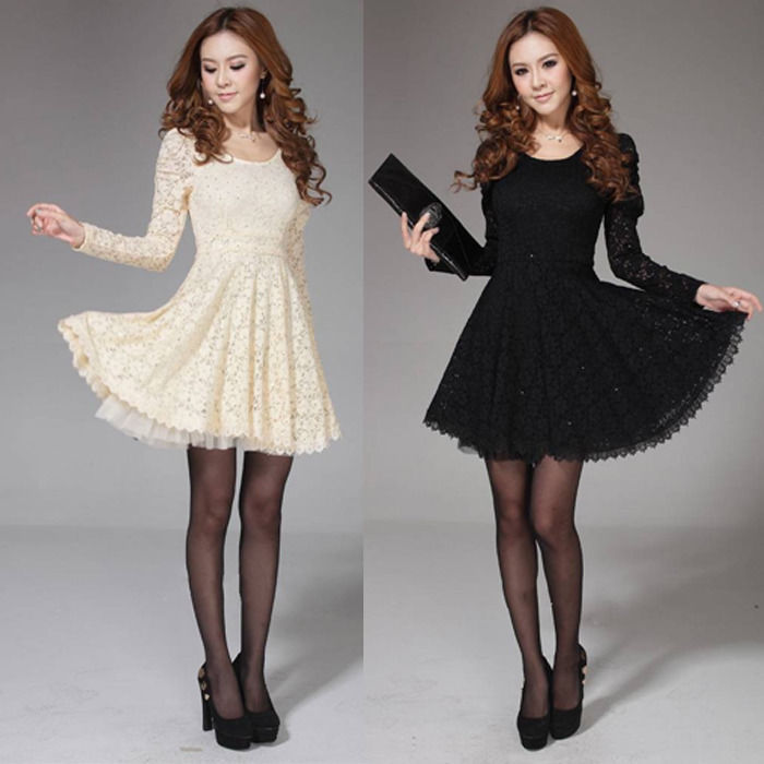 2014 New Womens Long Sleeve Spoon Neck Lace Cocktail Party Formal