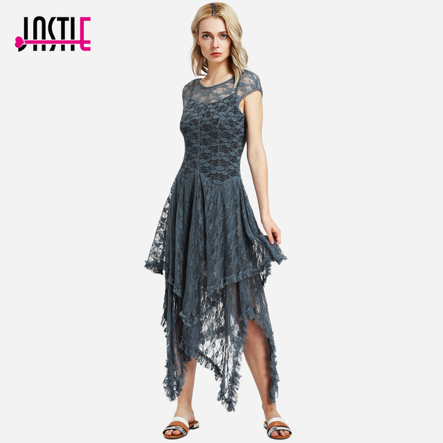 e2b589e650d Jastie Boho People hippie Style Asymmetrical embroidery Sheer lace dresses  double layered ruffled trimming low V