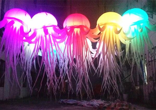 Livraison gratuite 2.6 m longue LED méduse gonflable artificielle éclairée